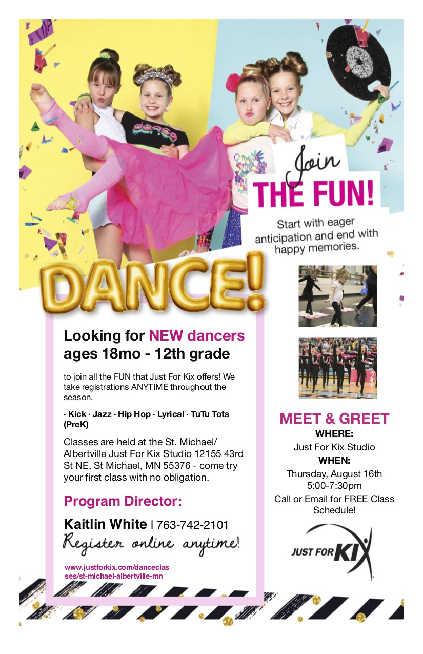 News dance classes in st michael albertville just for kix join us at our open house for free dance classes instructor meet and greets sizing for uniforms and much more fun m4hsunfo